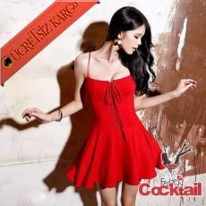 * İpli Ön Japon Askılı Rock Party Elbise Kırmızı