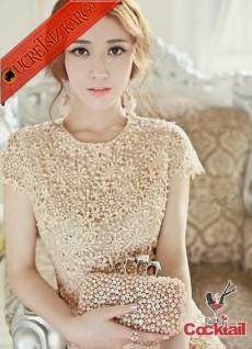 * Kabartma Çiçek & İnci Japon Gece Elbise Bej