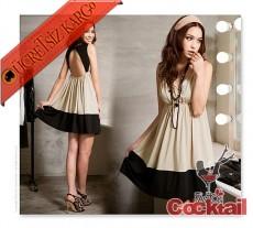 * sırt dekolte japon kolsuz eğlenceli elbise bej
