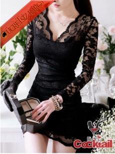 * Rahibe Yaka Japon Dantel Gece Elbise Siyah M L