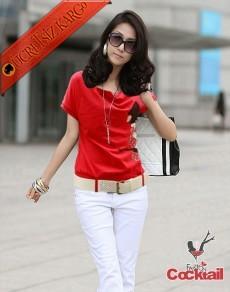 * Taşlı Kız Japon Kısa Kol Genç Bluz Kırmızı M L