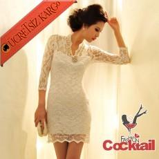 * v-yaka japon dantel narin elbise beyaz S M L