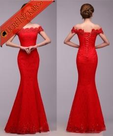 * Düşük Omuz Abiye Balık Elbise Kırmızı Bedenli