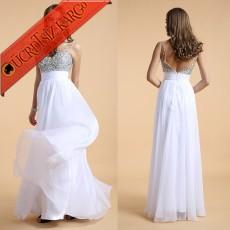 * Taş & Şifon Japon Uzun Abiye S-Xxl Beyaz