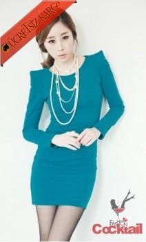 * KABARIK OMUZ japon fit gece elbise mavi