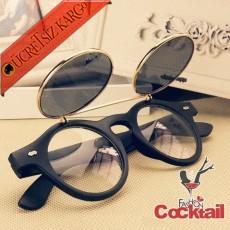 * Açılabilir Kapak Yuvarlak Çerçeve Gözlük Siyah