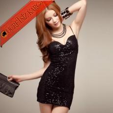 * PARTY! japon pullu straples abiye elbise siyah