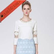 * Dantel Dirsek Japon Elegant Bluz Beyaz M L