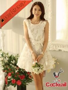* Çiçekli Tül Japon Romantik Gece Elbise M L