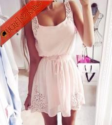* Japon Delik Omuz Şifon Mini Elbise Beyaz
