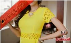 * bel & kol dekolte japon sexy gece elbise sarı