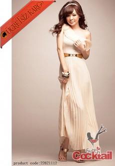 * tek omuz PİLELİ japon uzun elbise bej