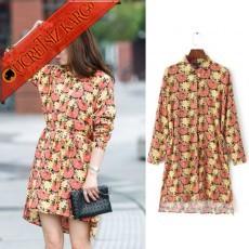 * Asimetrik Çiçekli Mevsimlik Japon Elbise