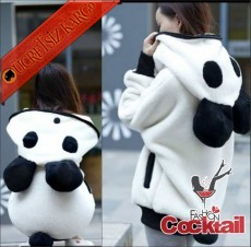 * Panda Kapşon Japon Kürklü Hırka Beyaz M L
