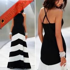* Kalın Çizgi Etek Japon Kolsuz Uzun Elbise S-L