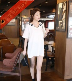 * Çizgili Denizci Yaka Japon Elbise Beyaz