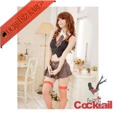 * 3Parça Japon Sexy Kollej Kız Kostüm Elbise