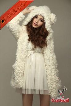 * Kulaklı Ponponlu Japon Kürklü Mont Beyaz