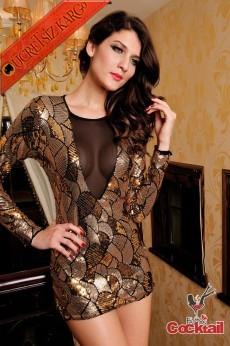 * Japon Parıltılı Desen Tül Dekolte Gece Elbise