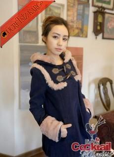 * ESKİMO japon çift düğmeli mont palto lacivert M - İNDİRİM ÖZEL