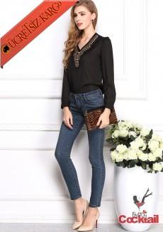 * Antik Mısır Nakış Yaka Japon Bluz S-Xl Siyah