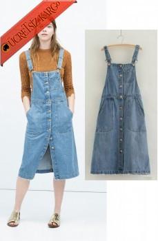 * Askılı Japon Düğmeli Jile Kot Elbise S-L