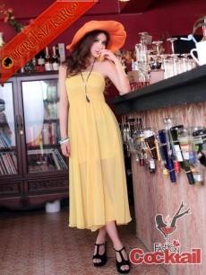 * SUMMER japon straples uzun elbise sarı S M L