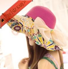 * Geometrik Desen Fiyonk Bayan Hasır Şapka Pembe