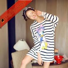 * Çizgili Japon Miss Duck Pijama Gecelik Beyaz