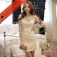 * Tül Papatya Oyma Japon Gece Elbise S-L Beyaz