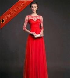 * Dantel Büst Japon Uzun Abiye Elbise Kırmızı