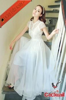 * Dantel Japon Kısa Kol Tül Uzun Elbise Beyaz