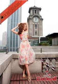 * TÜL BALON ETEK japon kolsuz çiçek elbise