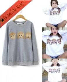 * 3 Maymun Japon Kışlık Sweatshirt Gri S-Xl