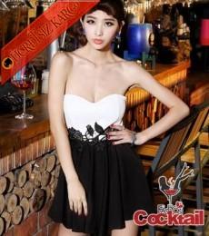 * Dantel Nakış Bel Japon Gece Elbise Siyah