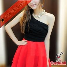 * Büzgü Büst Japon Tek Omuz Party Elbise Kırmızı
