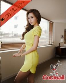 * bel & kol dantel japon yırtmaçlı elbise sarı