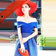 * Bandaj Japon Tül Etek Gece Elbise Mavi