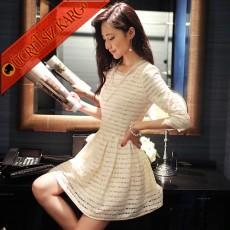 TRANSPARAN ŞERİT japon uzun kol çan party elbise