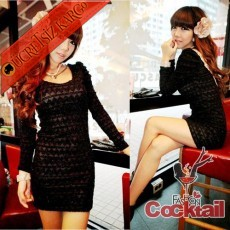 * japon ÖRGÜ SIRT parlak gece elbise siyah