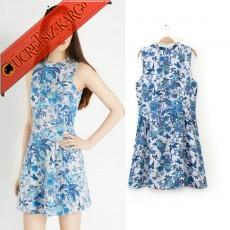* Amazon Çiçekleri Japon Kolsuz Elegant Elbise S-L