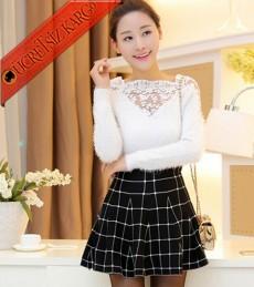 * Büyük Kare Japon Çan Pileli Mini Etek Siyah