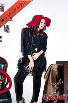 * ALACALI KUMAŞ japon uzu kol kışlık elbise siyah