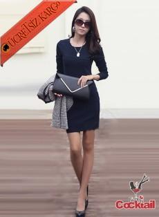 * Asimetrik Çizgi Japon Şık Elbise S-L Lacivert