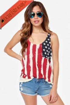 * Abd Flag Japon Askılı Genç Tshirt M L