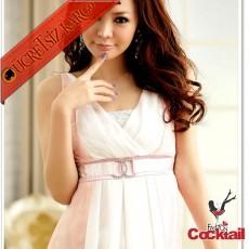 * Melek Japon Şifon V-Yaka Romantik Elbise Pembe