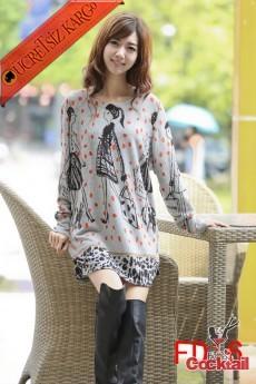 * Alışveriş Aşkı Japon Mevsimlik Elbise Gri