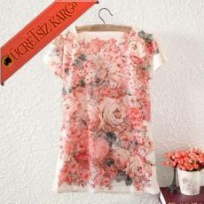 * Çiçek Sarmalı Japon Kısa Kol Tshirt Beyaz