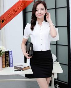 * Kısa Kol Japon Gömlek Etek Takım Beyaz S-L
