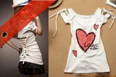 * Bağcık Kol Japon Heart Kalpli Tshirt Beyaz